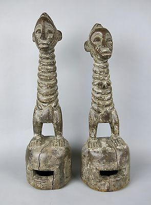 Senufo Degele African Mask Helmet Statue Wood Carving Male & Female Set of 2