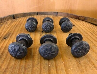 "Set 6 Brown Floral Flower Pattern 1"" Round Drawer Cabinet Knobs Pulls Cast Iron"