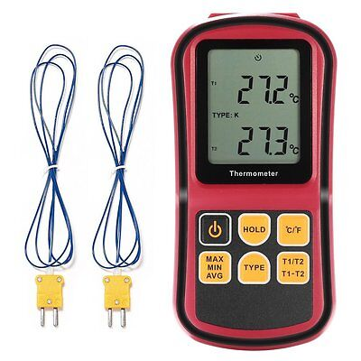 LCD Dual Channel Digital Thermometer with Two K- type Thermocouples for and Life