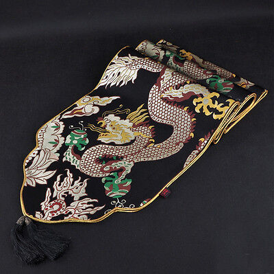 100%Handmade Chinese Classical Black Dargon Silk Table Runner Cloth& Bed Flag
