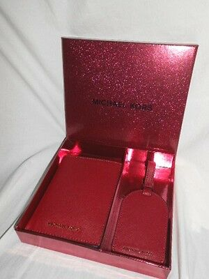 Michael Kors Passport Case Luggage Tag Set Travel Holder Id Badge Cherry Red