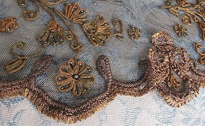Antique Metal Bead Embroidered/Braid Applique Black Net Lace Millinery Doll Trim