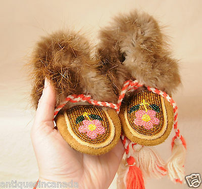Plains Baby Beaded Hide Moccasins Native American Indian Saskatchewan Canada