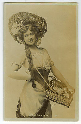 c 1907 British Edwardian Theater LOVELY RUTH VINCENT Beauty photo postcard
