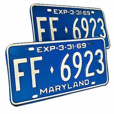 1960s Maryland MA License Plate 2 Set Pair 1969 Blue White Vintage Original