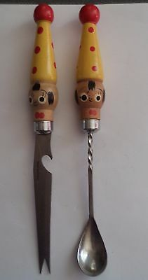 Vintage Serving knife and spoon.Clown wooden handles.Made in Japan
