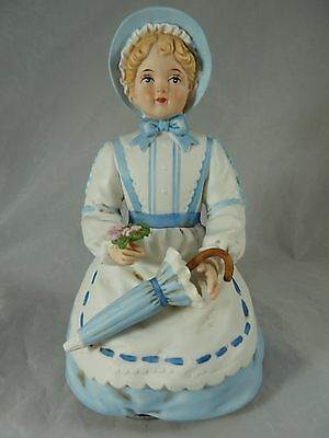 """SCHMID Collectible Musical Figurine 6-1/2"""" tall Girl in blue dress with umbrella"""