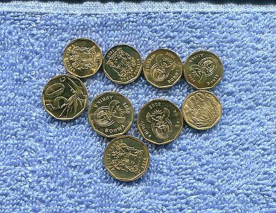 South Africa Lot Of 9 Proof Coins 20 And 50 Cents Nr 7.95