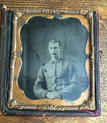 "Antique Indian War Tintype Plate Soldier Ornate 3"" x 3.5"" Case - Confederate"