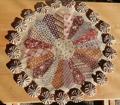 """14.75"""" Brown Tones On A Patchwork Look Quilt On A Handmade YoYo Candle Mat"""