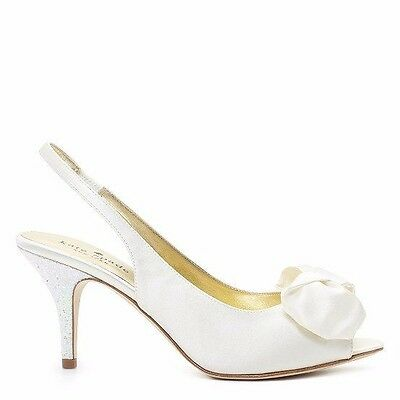 New Kate Spade Sharlene Ivory Satin Bridal W/ Glitter Heel - US 6.5M med heel