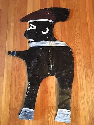 RARE R A Miller Outsider Folk Art Black Man on Tin