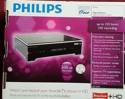 Philips Hdt8520 500Gb Twin Tuner Freeview Hd Recorder Boxed + Remote And Leads.