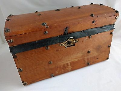 ANTIQUE Wooden Chest Box Jewelry Trinket - Salesman Sample Chest w/ Tray