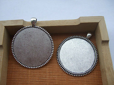 10pcs Antique Silver Plated 40mm Round Cameo Cabochon Bezel Setting Tray Pendant