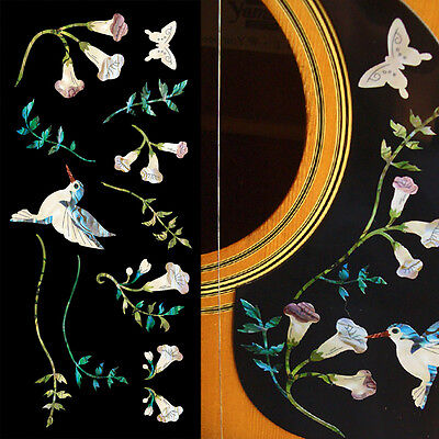 Hummingbird with Flowers Vine Set -AB Guitar Pickguard Inlay Stickers Decals