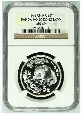 1998 China 5 Yuan Silver Panda ~Hong Kong Expo~ NGC MS 69