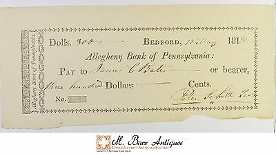 1818 $300.00 Allegheny Bank Of Pennsylvania Check *555