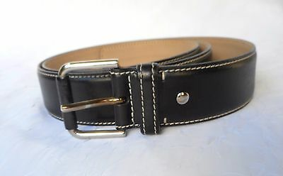 ANN TAYLOR Women's Black Genuine Leather Belt Size XL  Made in Italy