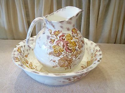Antique Floral Adamantine China Pitcher Wash Basin Bowl Set