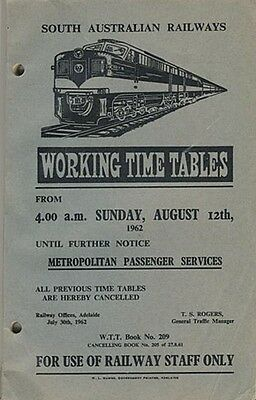 SAR Working Time Tables, Metro Passenger Services, 1962, WTT209, SC book,