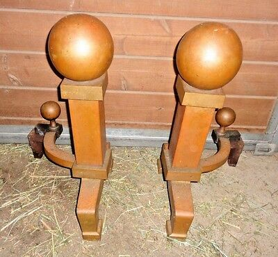 Vintage Cannonball Art Deco Andirons - HEAVY SOLID Andirons