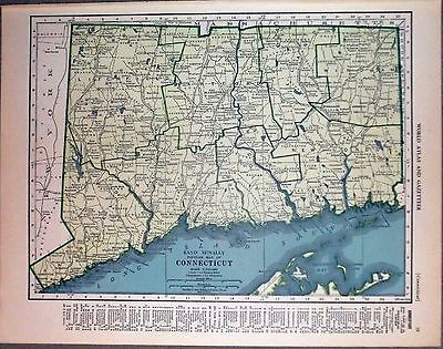 1943 vintage ORIGINAL map of CONNECTICUT and FLORIDA WW2 ERA WWII Atlas