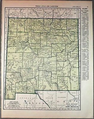 1943 vintage ORIGINAL map of NEW MEXICO and NEW YORK WW2 ERA WWII Atlas
