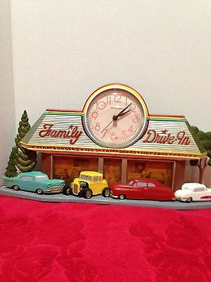 1950's Style Family Drive-In With Figured Cars, Clock & Coke Ad