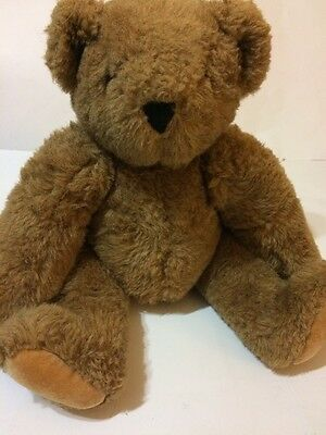 """VERMONT TEDDY BEAR Authentic Jointed Plush Honey Light Brown 16"""" EUC"""