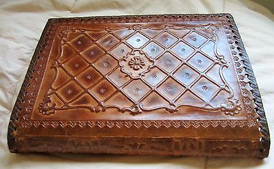 Rare VTG Hand Tooled Embossed Brown Leather Bible, Agenda, Book Cover Jacket