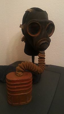 British Avon MKIV Dated Black Gas Mask - UK Canvas Hose Filter VTG 1942