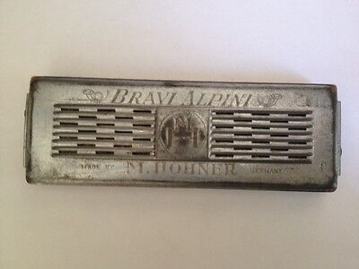 Vintage Antique Double Sided Bravi Alpini M Hohner Harmonica Key C & G