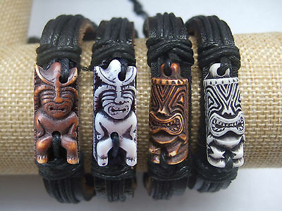 1/12pcs Tribal Yak Bone Carved Tiki Man Totem Surfer Leather Bracelet Wristband