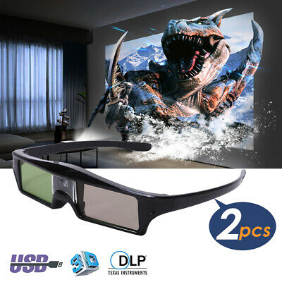 2× 3D Active Shutter Glasses Rechargeable for DLP-Link 3D Projector Movie Game