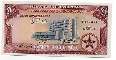 1958 Bank of Ghana 1 One Pound Banknote