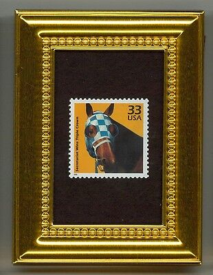Secretariat Triple Crown - A Collectible Glass Framed Postage Masterpiece!