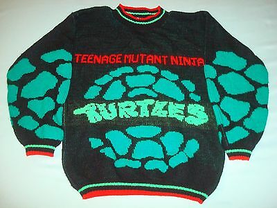 VINTAGE 1980s TEENAGE MUTANT NINJA TURTLES SWEATER YOUTH SIZE TMNT 80s 2 Sided