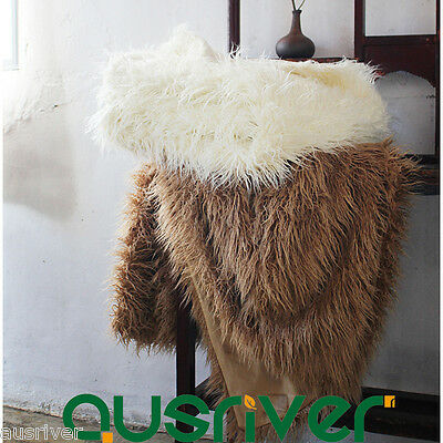 Soft Faux Mongolian Fur Throw Rug Couch Lounge Sofa Blanket Home Nap 127x152cm