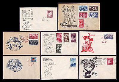 1947 Romania, FDC Complete year set 6 issues / 8 first day covers, Mi 1077-1092