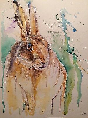 Original Watercolour Painting Illustration large A3 abstract HARE