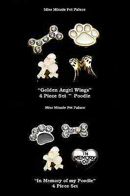 4 pc Sets 2 Styles ~ In Memory of White French Poodle Dog Locket Floating Charms