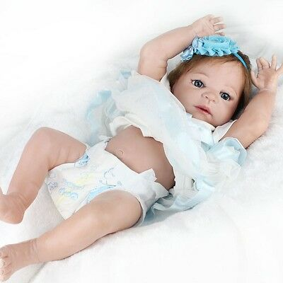 22'' Handmade Lifelike Reborn Girls Doll Full Body Vinyl Silicone Baby+Dress HOT