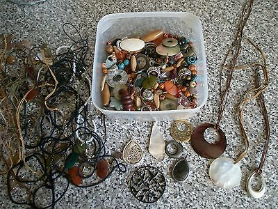 Job Lot Of Beads, Pendants And Cord Suitable For Jewelery Making