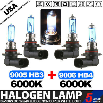 9005 + 9006 6000K Super White 100W Xenon Halogen Headlight Bulbs - Low&high Beam