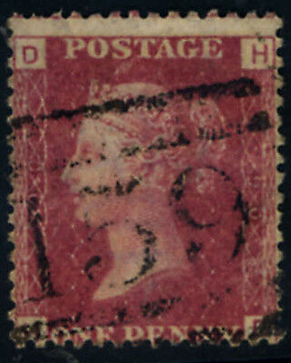 GB QV 1858  SG 43-44  Plated 1d RED Plate no 90 Good Used Letters HD