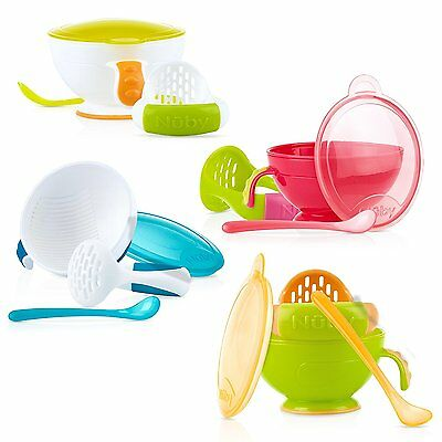 Nuby Garden Fresh Mash N Feed Baby Food Bowl with Spoon and Food Masher, Colors