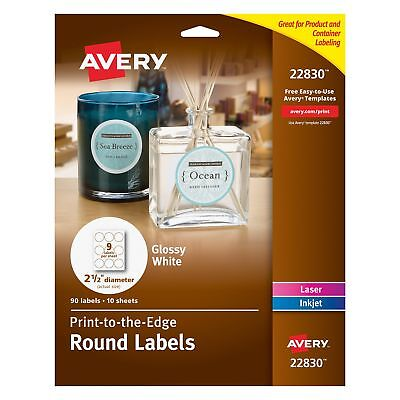 Avery Print - To - The - Edge Round Labels, Glossy White, 2.5-Inch Diameter