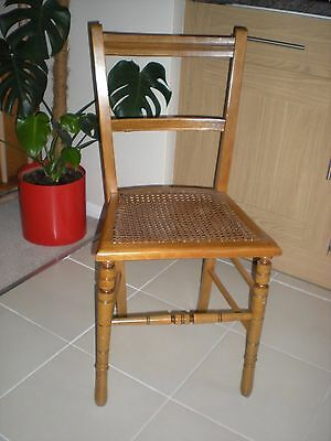 """Vintage Edwardian Cane/ Rattan Seat Base Bedroom Chair - 32"""" High x 14.75"""" Wide"""