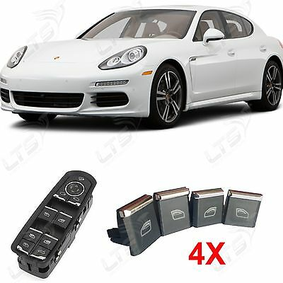 Porsche Panamera Window Control Power Switch Chrome Trim Button Kit X4